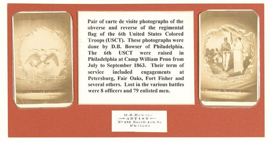 (MILITARY--CIVIL WAR.) BOWSER, DAVID BUSTILL. United States Colored Troops.