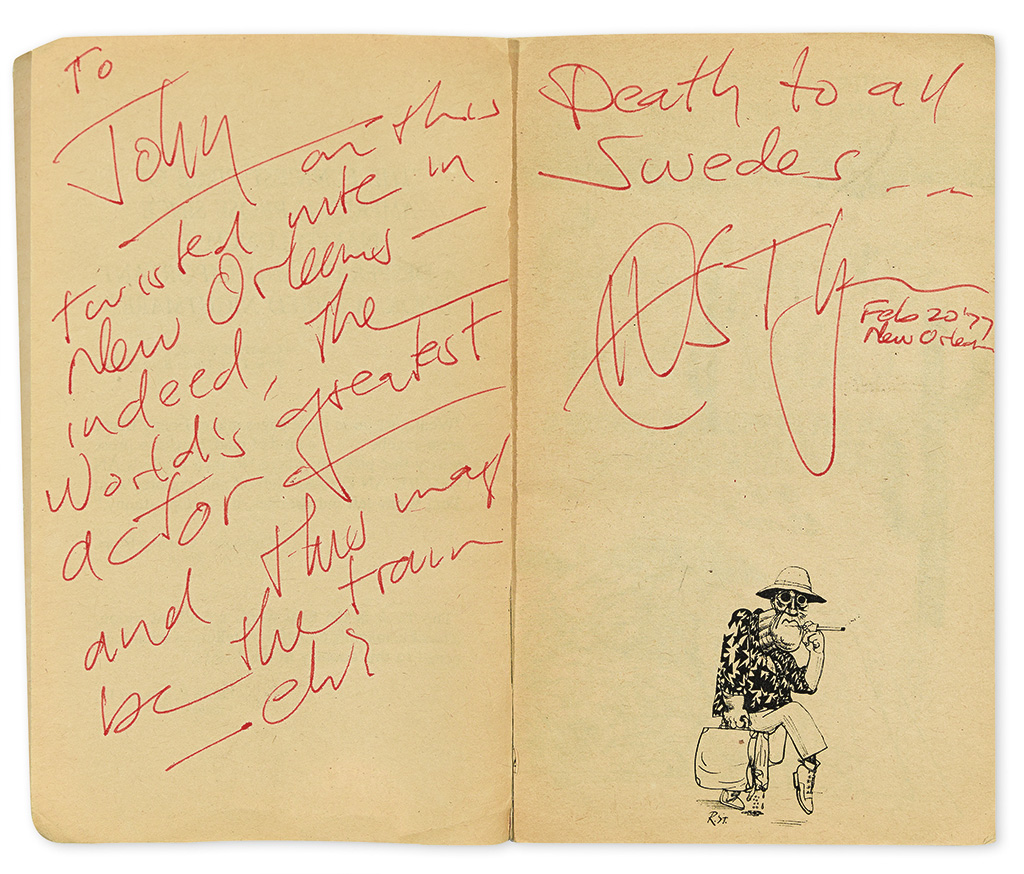 THOMPSON, HUNTER S. Fear and Loathing in Las Vegas. Signed and Inscribed: