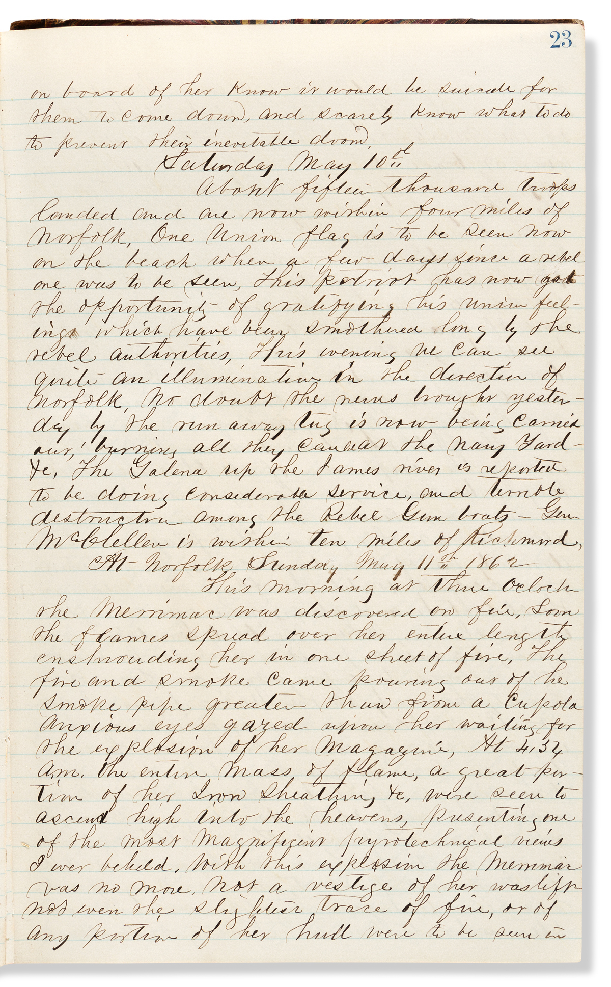 (CIVIL WAR--NAVY.) [Philip G. Peltz.] Diary of a naval officer in pursuit of the Merrimac.
