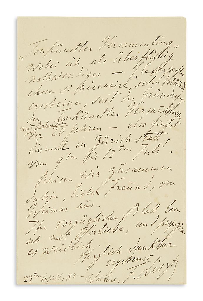 LISZT, FRANZ. Autograph Letter Signed, F. Liszt, to publisher of the Allgemeinen deutschen Musikzeitung Otto Lessmann, in German and