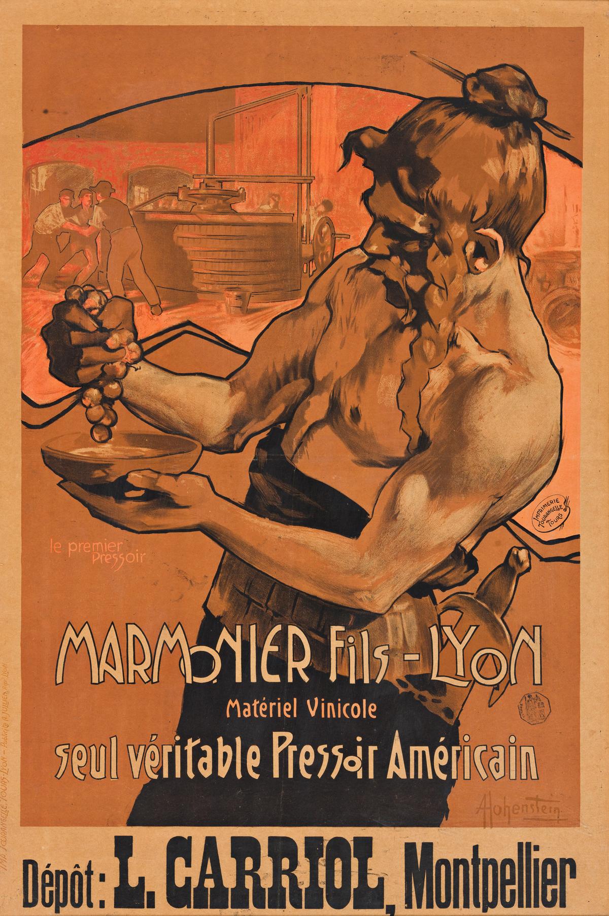 ADOLFO HOHENSTEIN (1854-1928).  MARMONIER FILS - LYON. Circa 1900. 34x22 inches, 86x57 cm. Tourangelle, Tours-Lyon.