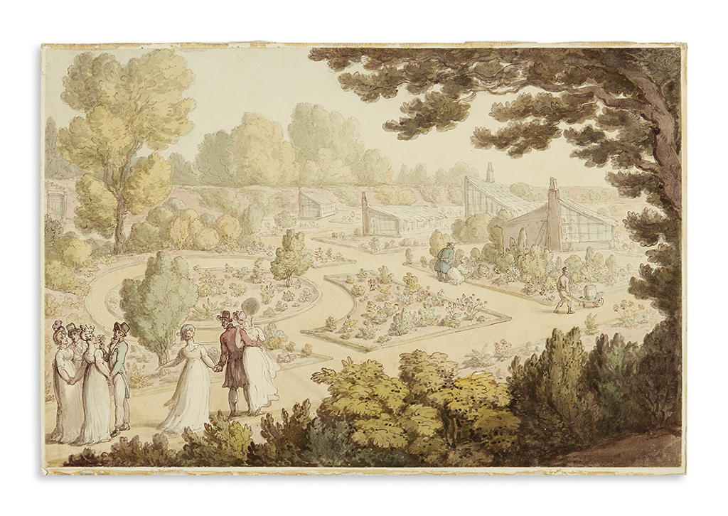 ROWLANDSON, THOMAS (attributed to). English garden scene.