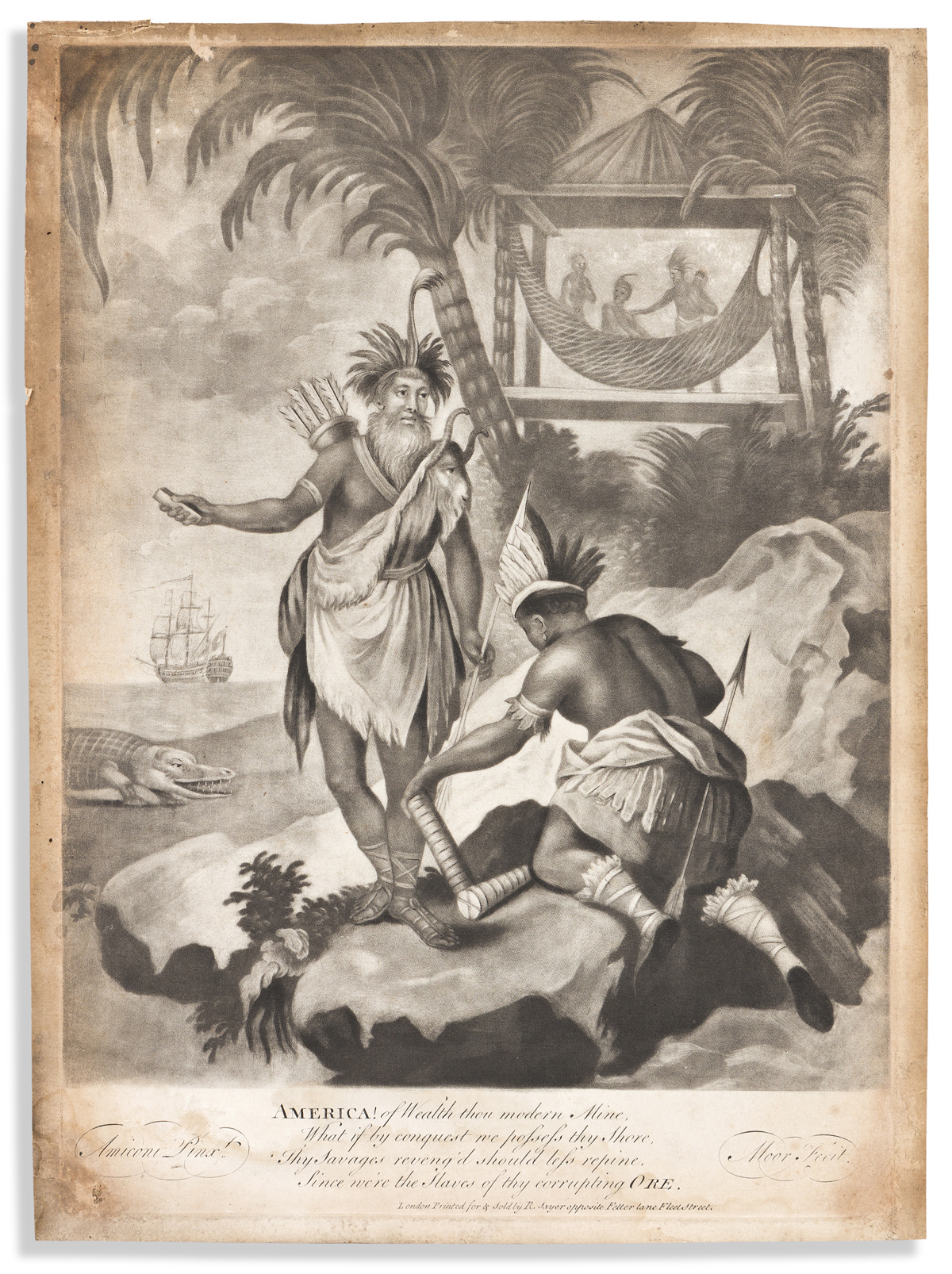 (COLONIAL ERA.) James Moore, engraver; after Giacomo Amiconi. America! of Wealth thou Modern Mine.