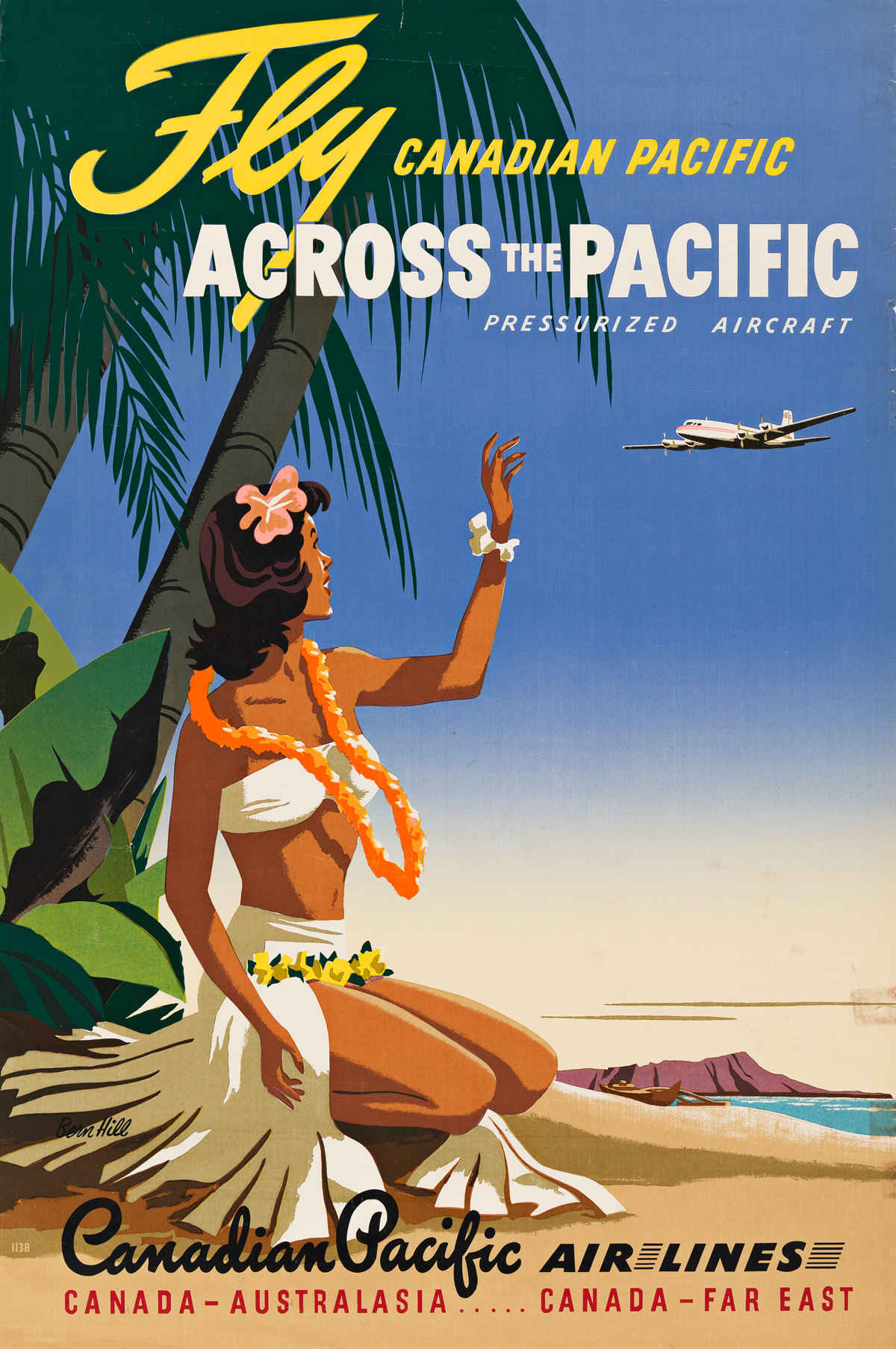 Bern Hill (1911-1977).  FLY CANADIAN PACIFIC / ACROSS THE PACIFIC. Circa 1950s.