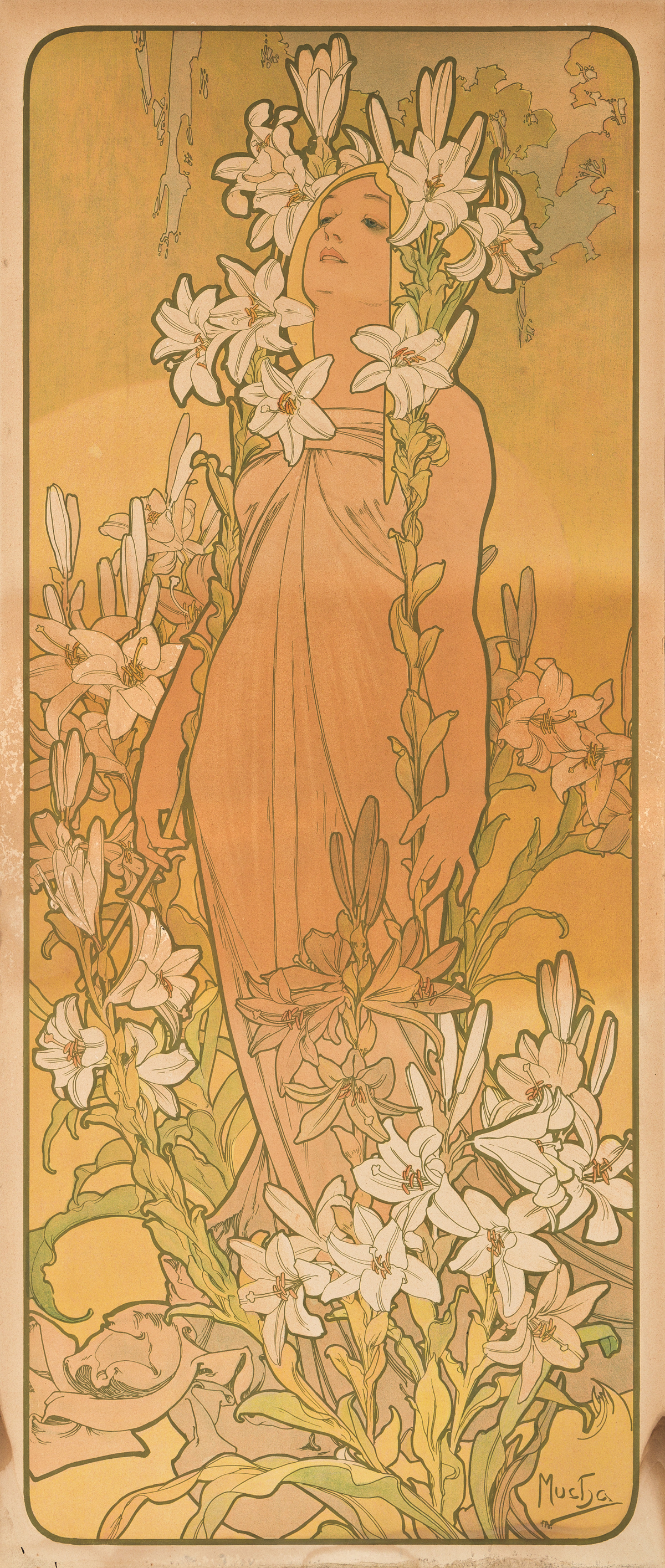 ALPHONSE MUCHA (1860-1939).  [FLOWERS / THE LILY.] 1898. 41½x17½ inches, 105½x44½ cm. [F. Champenois, Paris.]