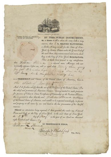 """(SLAVERY AND ABOLITION--MARITIME) BLATCHFORD, R. MILFORD, Notary for New York City Certificate of Freedom, declaring """"""""William Steward,"""