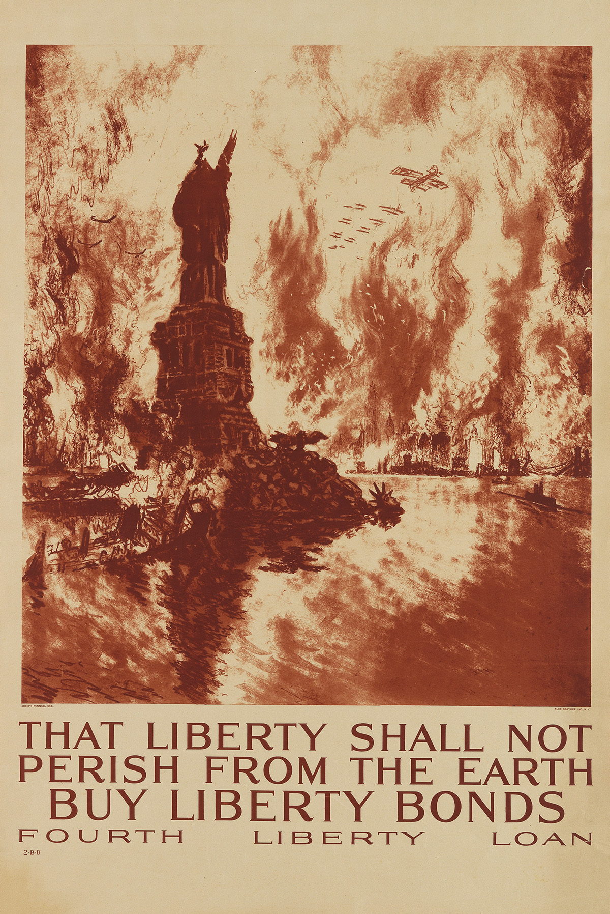 JOSEPH PENNELL (1857-1926). THAT LIBERTY SHALL NOT PERISH FROM THE EARTH. 1918. 33x22 inches, 83x56 cm. Alco-Gravure, Inc., New York.