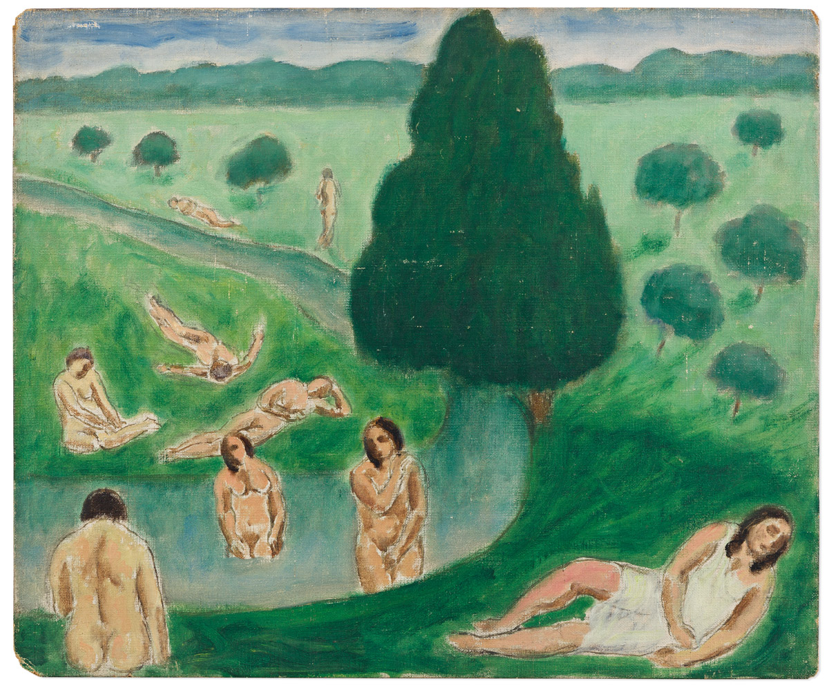 ABRAHAM WALKOWITZ (1878-1965) Bathers in a Landscape.