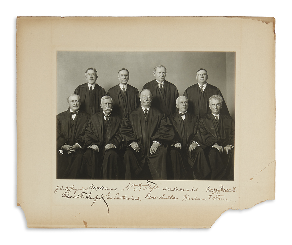 (SUPREME COURT.) Photograph Signed by all nine justices of the 1925 Taft Court, group portrait,
