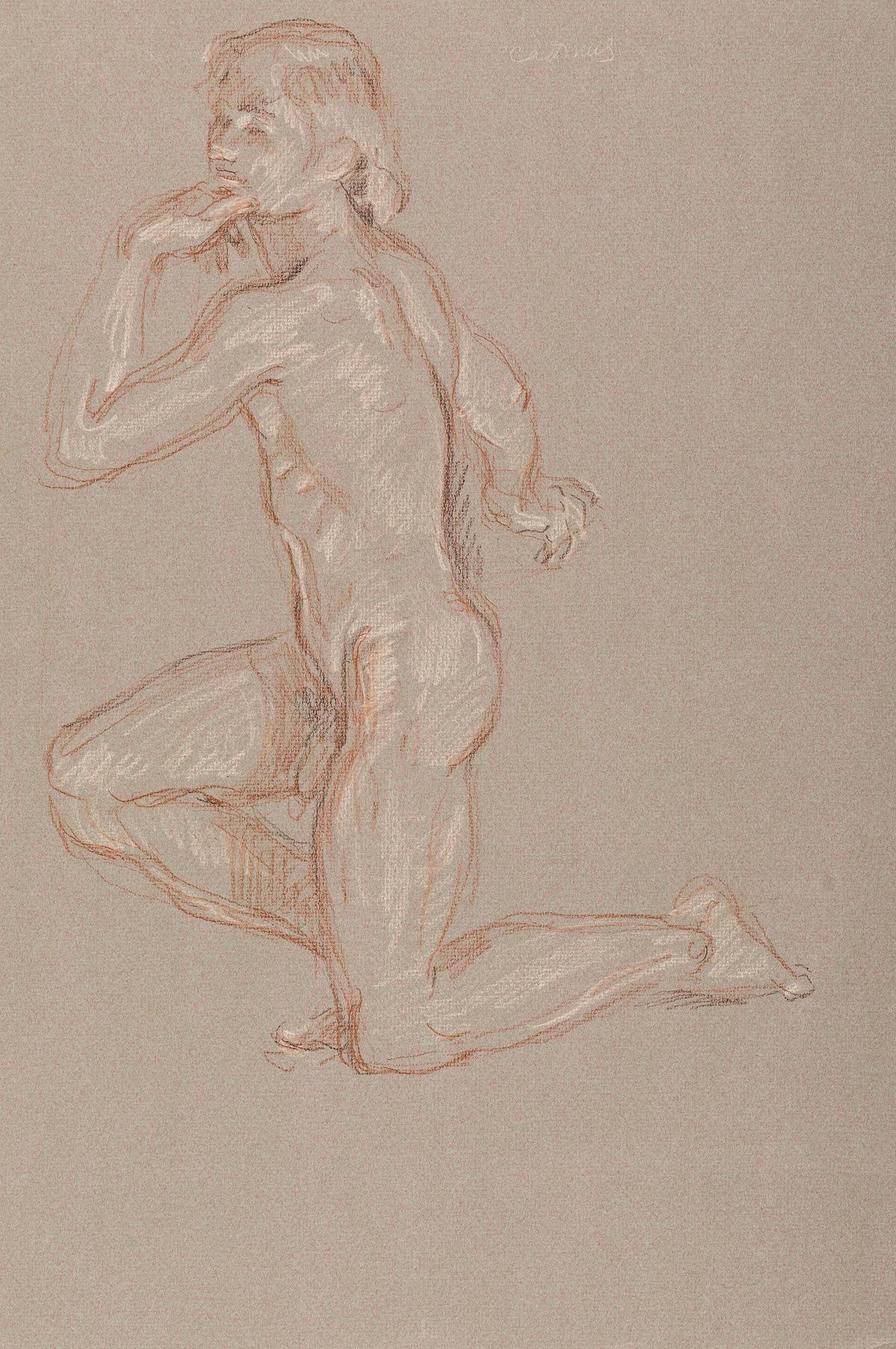 PAUL CADMUS (1904 - 1999) Kneeling Male Nude.