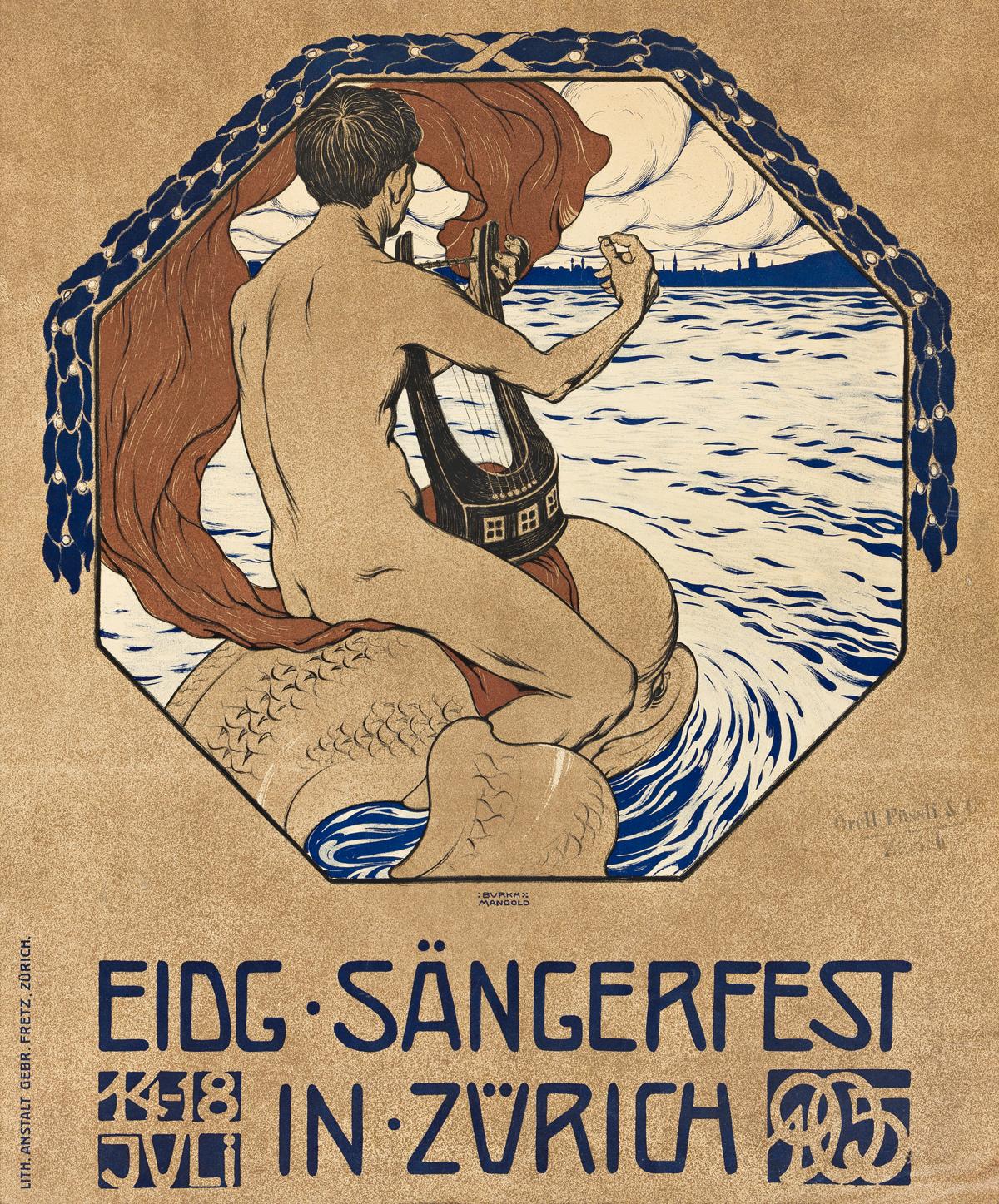 BURKHARD MANGOLD (1873-1950).  EIDG SÄNGERFEST IN ZÜRICH. 1905. 37x31 inches, 95x78 cm. Gebr Fretz, Zurich.