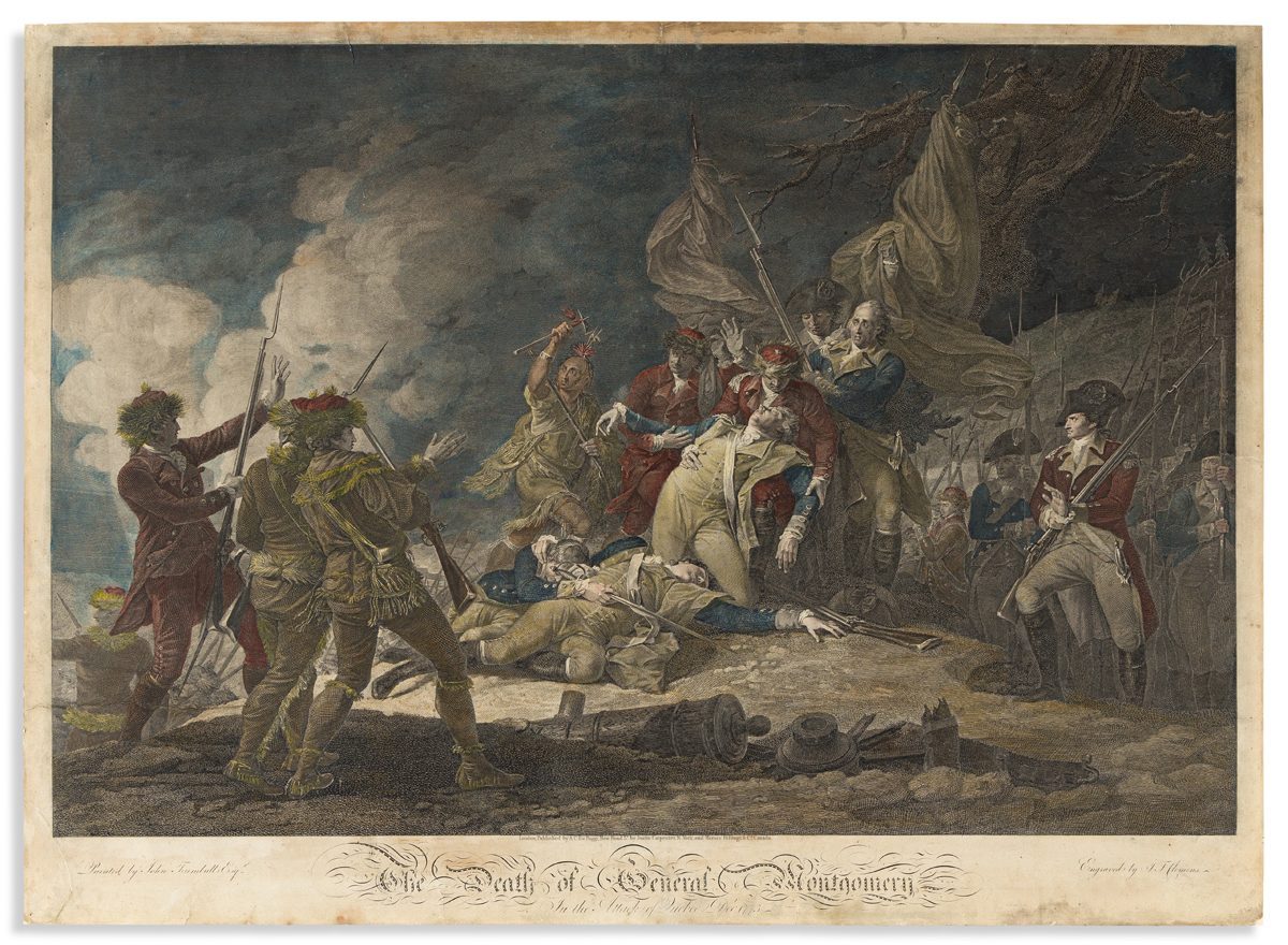 (REVOLUTION.) J.T. Clemens, engraver; after John Trumbull. The Death of General Montgomery in the Attack of Quebec.