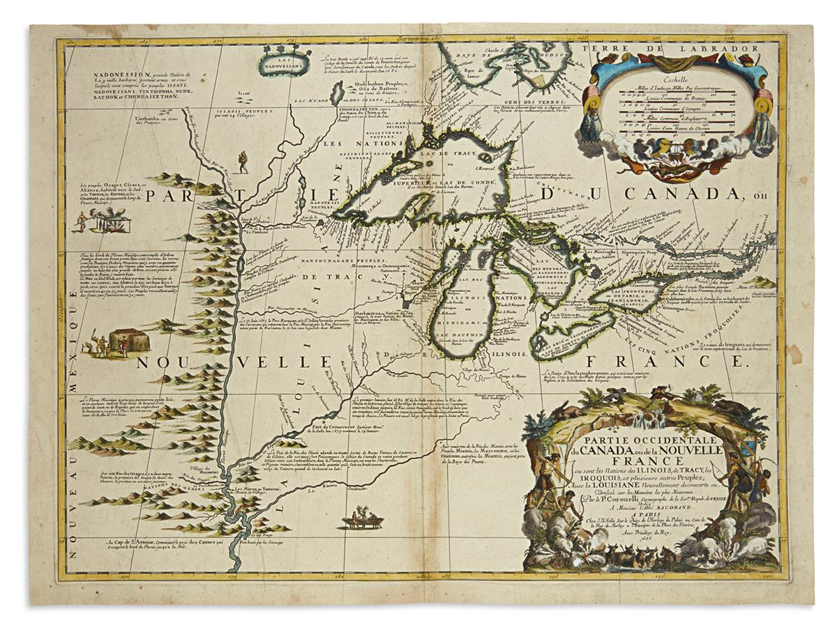 (GREAT LAKES.) Coronelli, Vincenzo Maria; and Nolin, Jean Baptiste. Partie Occidentale du Canada ou de la Nouvelle France.