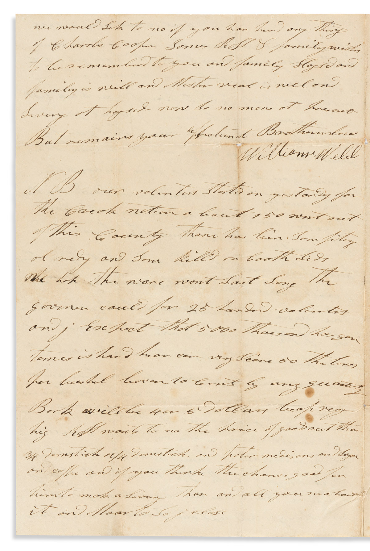 (AMERICAN INDIANS.) William Webb. Letter describing the Creek War of 1836.