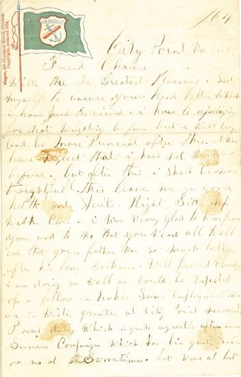 (MILITARY--CIVIL WAR.) Letter from Morgan W. Carter, 28th U.S.C.T. Black Soldier to a friend.