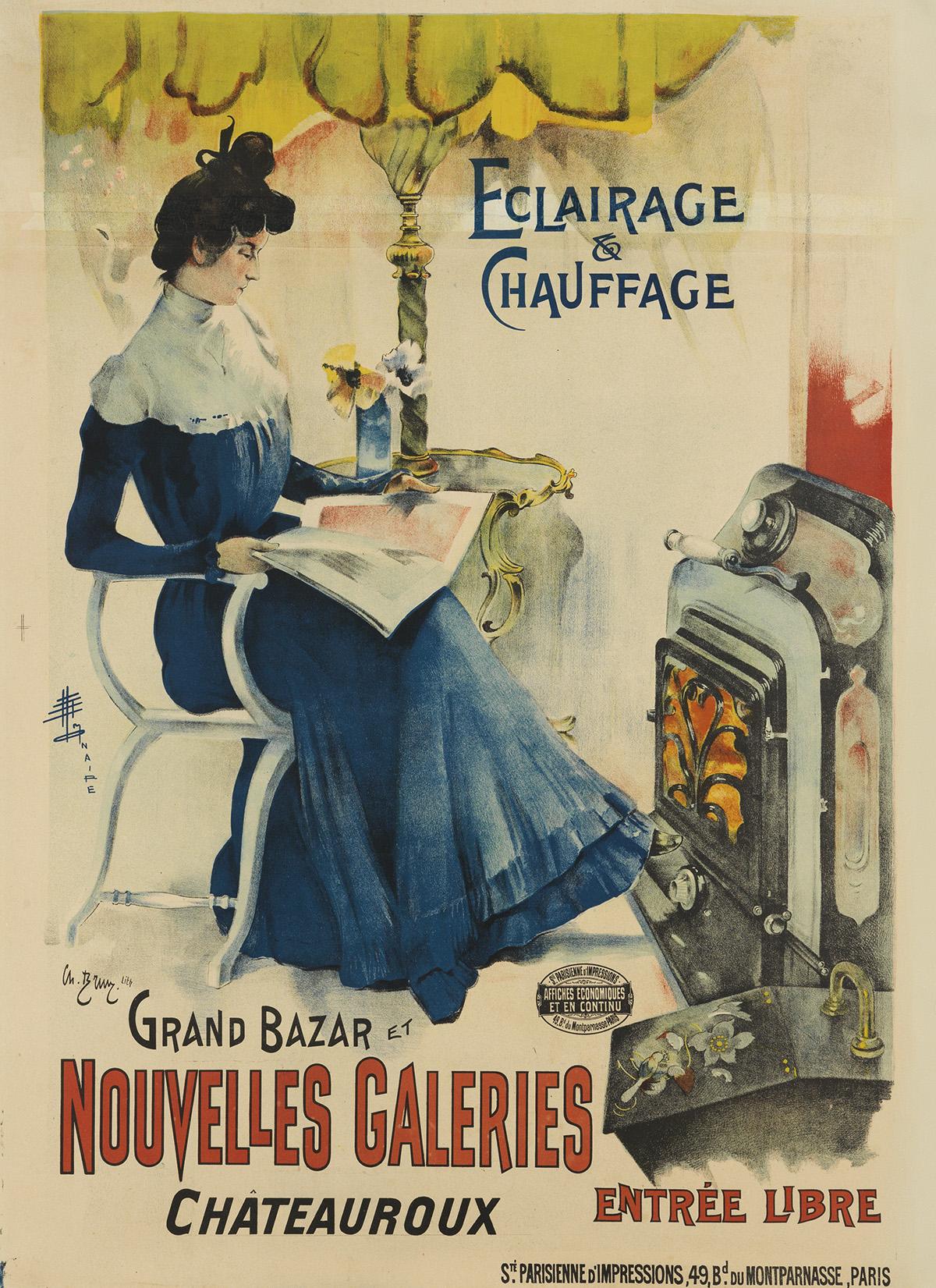 MONAIRE (DATES UNKNOWN). ECLAIRAGE & CHAUFFAGE / GRAND BAZAR ET NOUVELLES GALERIES. Circa 1895. 47x34 inches, 119x87 cm. Ch. Brun Lith.