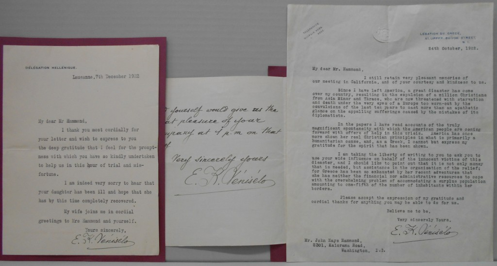 VENIZELOS, ELEUTHERIOS. Three items, each Signed, E.K. Venizélos, to John Hays Hammond: Autograph Letter * Two Typed Letters.