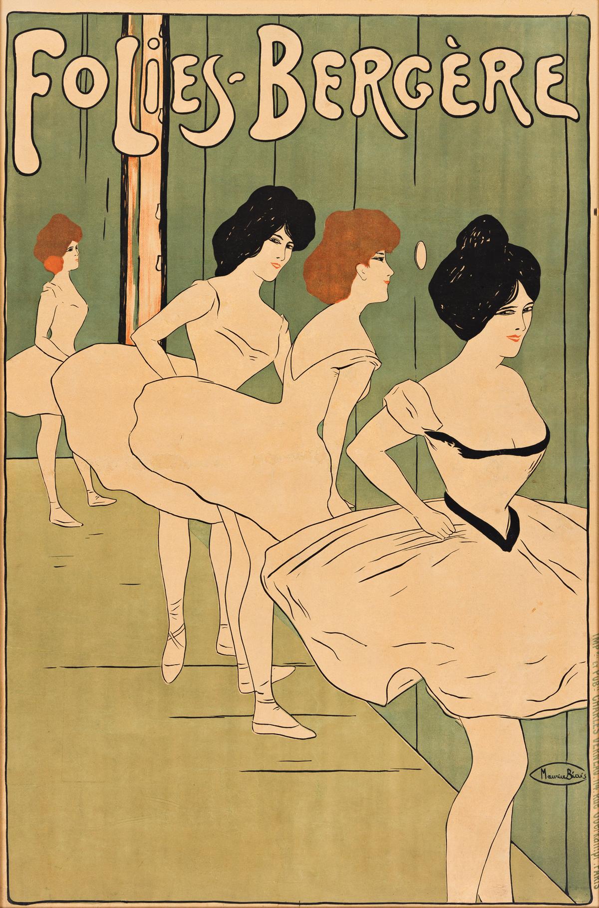 MAURICE BIAIS (1875-1926).  FOLIES - BERGÈRE. Circa 1900. 44x29 inches, 113x74 cm. Charles Verneau, Paris.