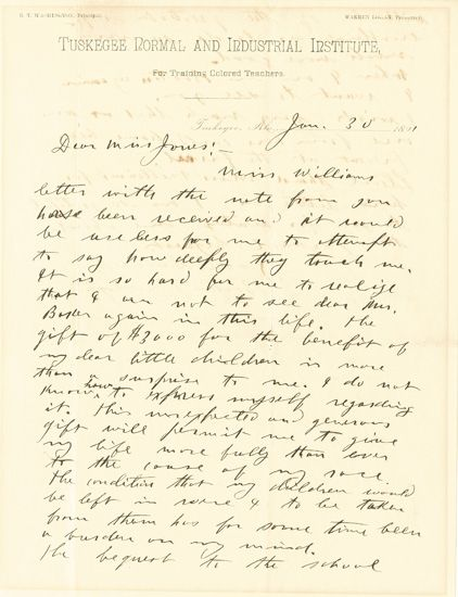 (EDUCATION.) WASHINGTON, BOOKER T. Autograph Letter Signed, to a Miss Jones, expressing his profound appreciation for a bequest of $300