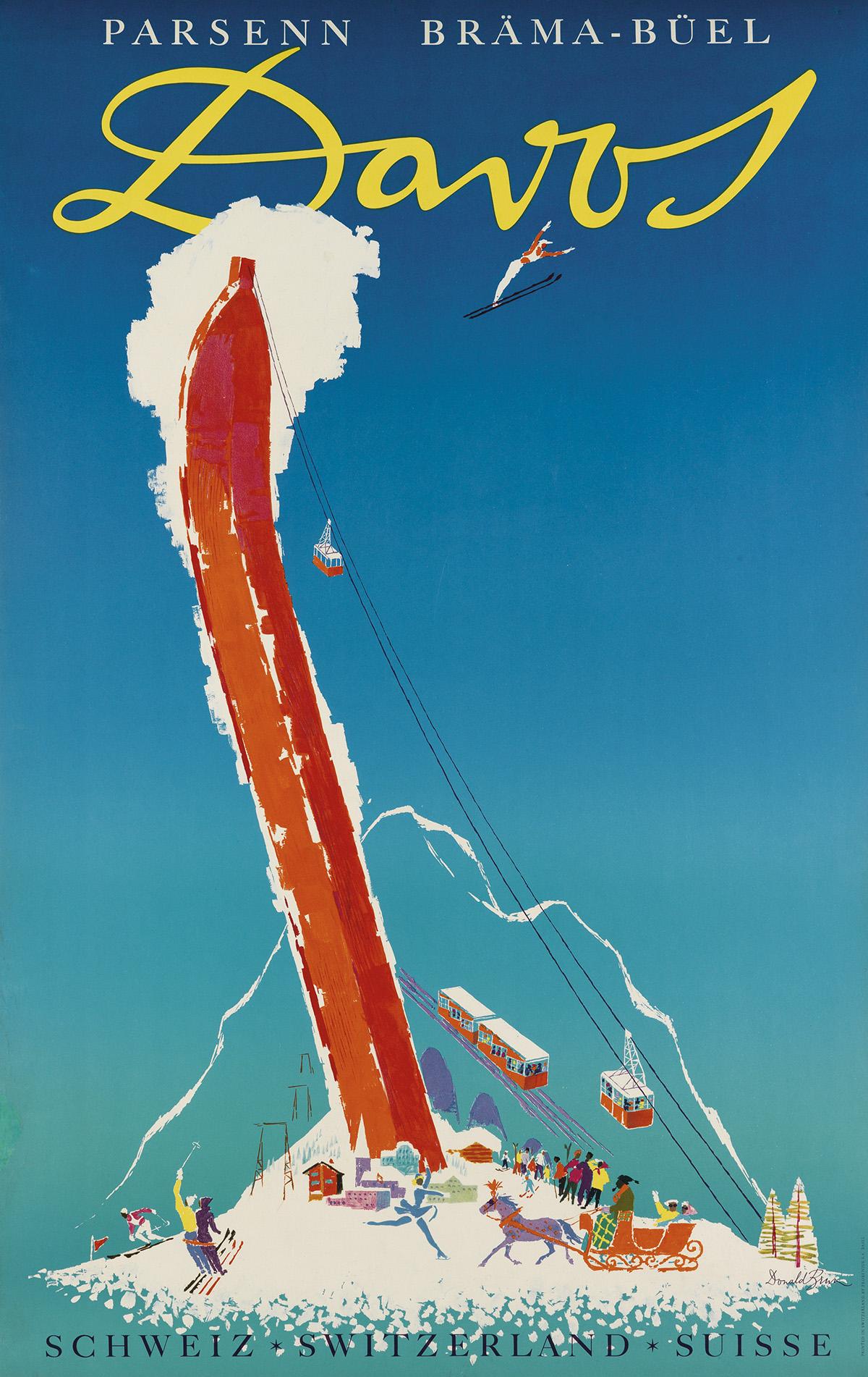 DONALD BRÜN (1909-1999). DAVOS. Circa 1956. 39x25 inches, 101x63 cm. Frobenius, Basel.