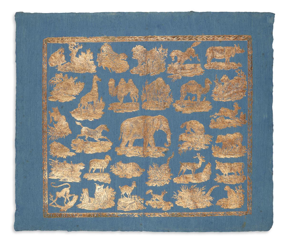 (NATURAL-HISTORY)-GN-Renner--Abel-Gilt-embossed-animal-themed-brocade-on-blue-washed-laid-paper