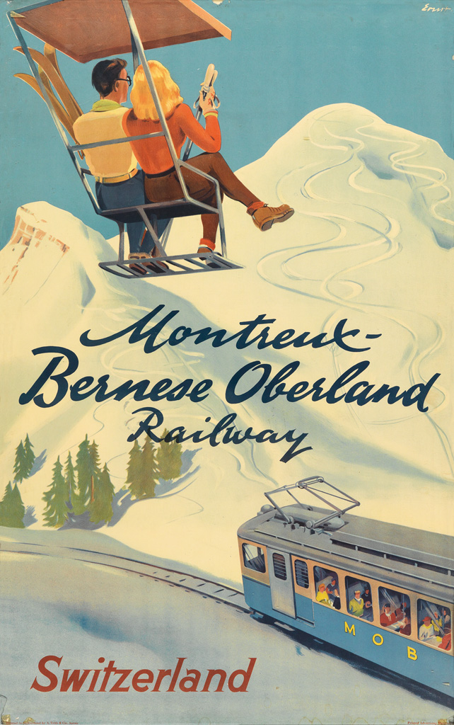 VARIOUS ARTISTS. [SKIING / SWITZERLAND]. Group of 3 posters. Each approximately 39x24 inches, 100x62 cm.