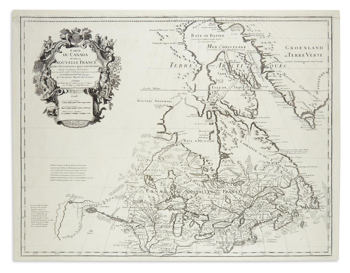 DE LISLE, GUILLAUME. Carte du Canada ou de la Nouvelle France.