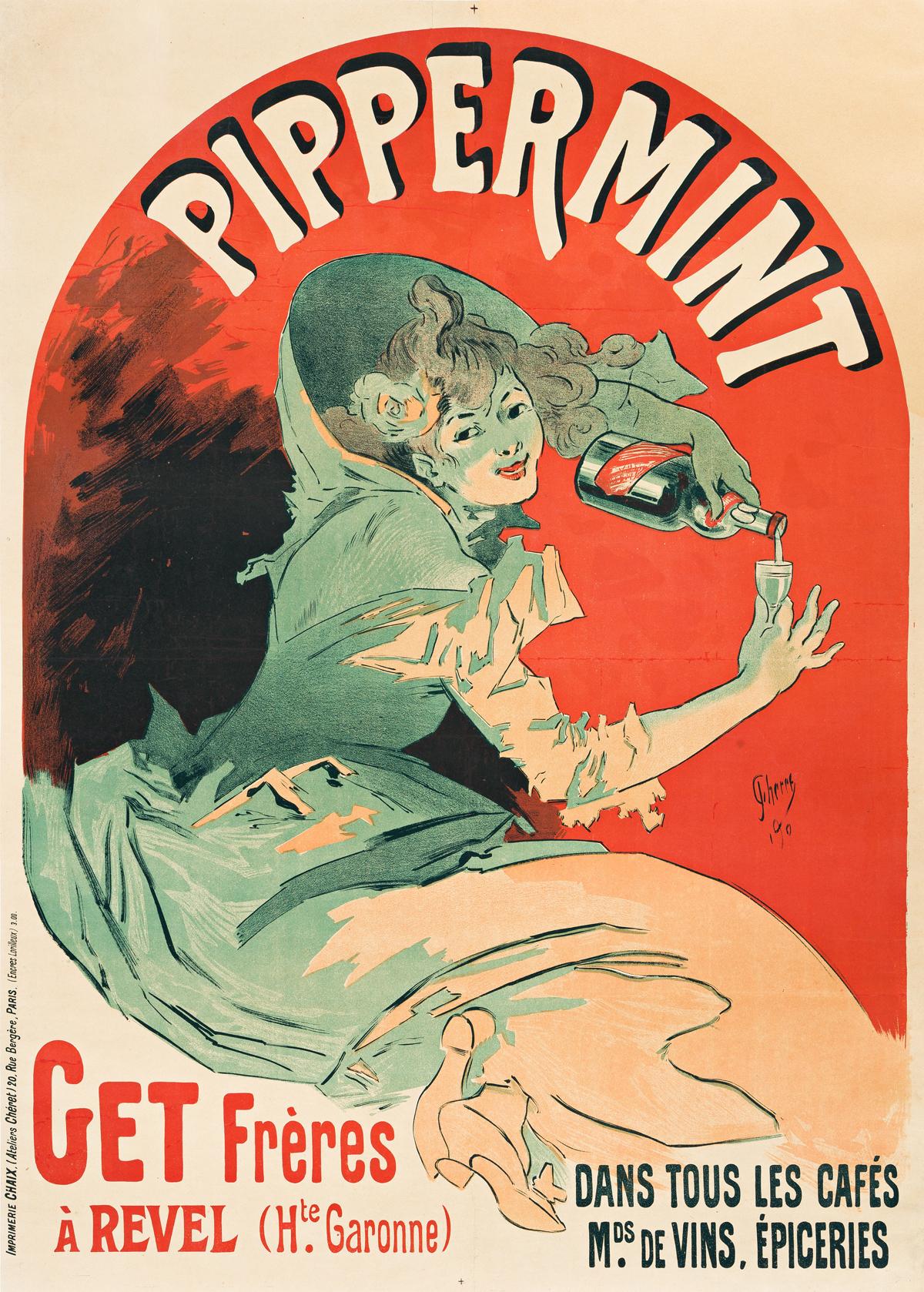 JULES CHÉRET (1836-1932).  PIPPERMINT. 1900. 48x33 inches, 122x86 cm. Chaix, Paris.