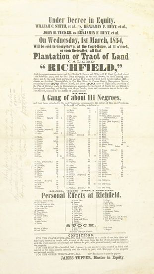 """(SLAVERY AND ABOLITION--AUCTION.) Under Decree in Equity. . .Plantation or Tract of Land Called """"""""Richfield"""""""". . .A Gang of About 111 N"""