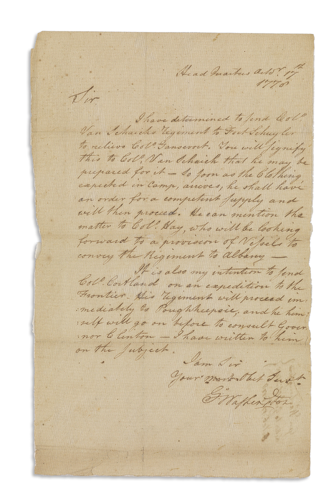 (AMERICAN REVOLUTION.) WASHINGTON, GEORGE. Letter Signed, G:Washington, as Commander-in-Chief, to General James Clinton,