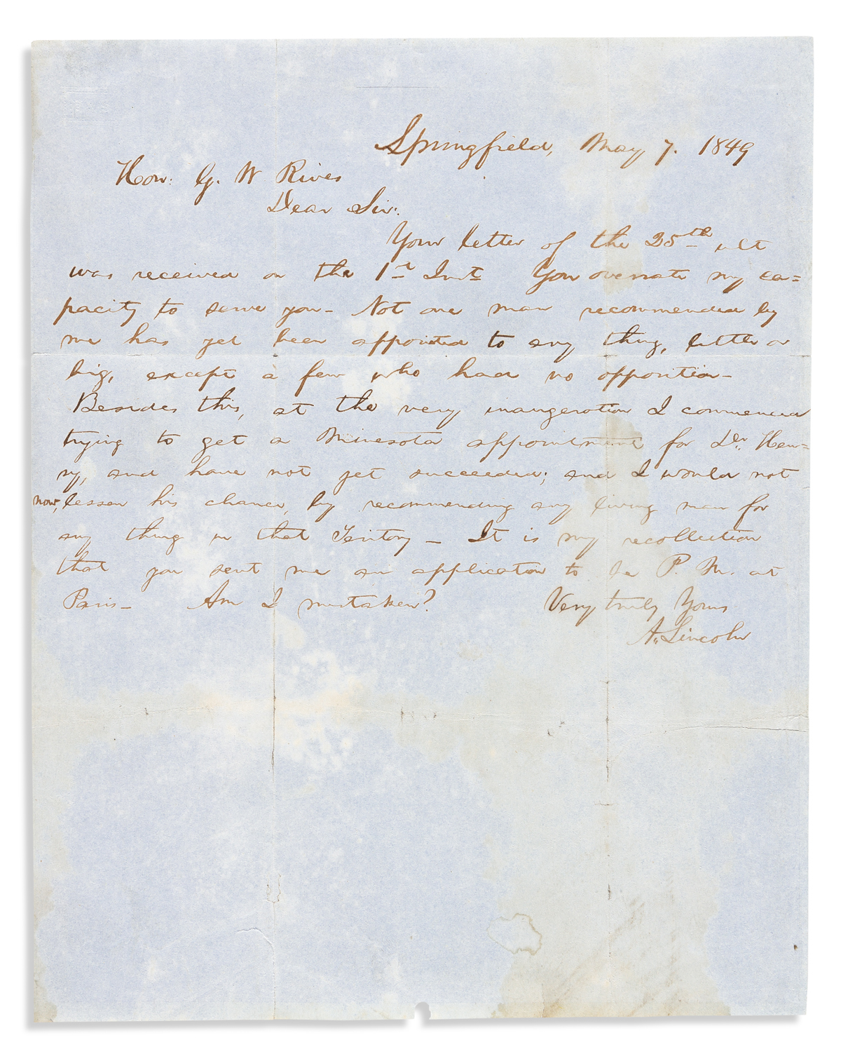 """LINCOLN, ABRAHAM. Autograph Letter Signed, """"A.Lincoln,"""" to Whig activist George W. Rives (""""Hon: G.W. Rives""""),"""