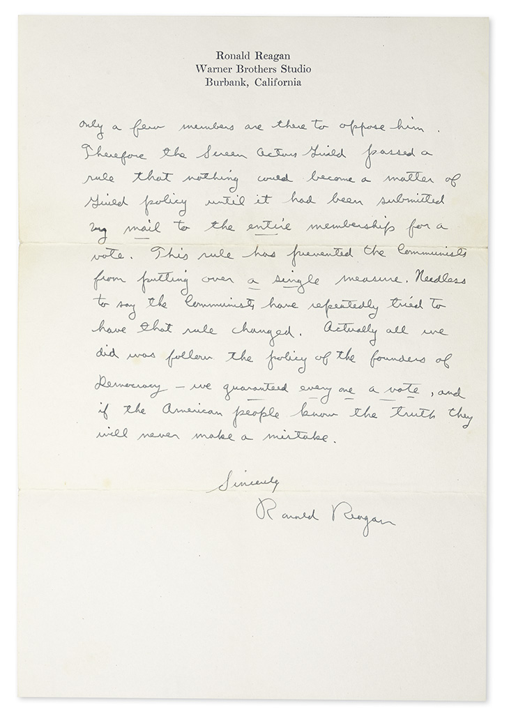 REAGAN, RONALD. Autograph Letter Signed, to fan Margaret Donnelly,