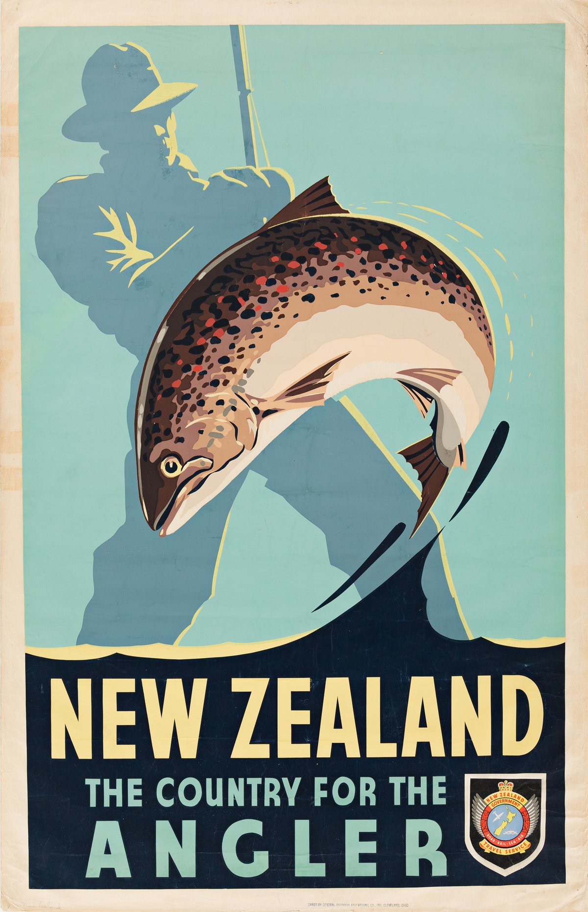 Leonard Cornwall Mitchell (1901-1971).  NEW ZEALAND / THE COUNTRY FOR THE ANGLER. Circa 1957.