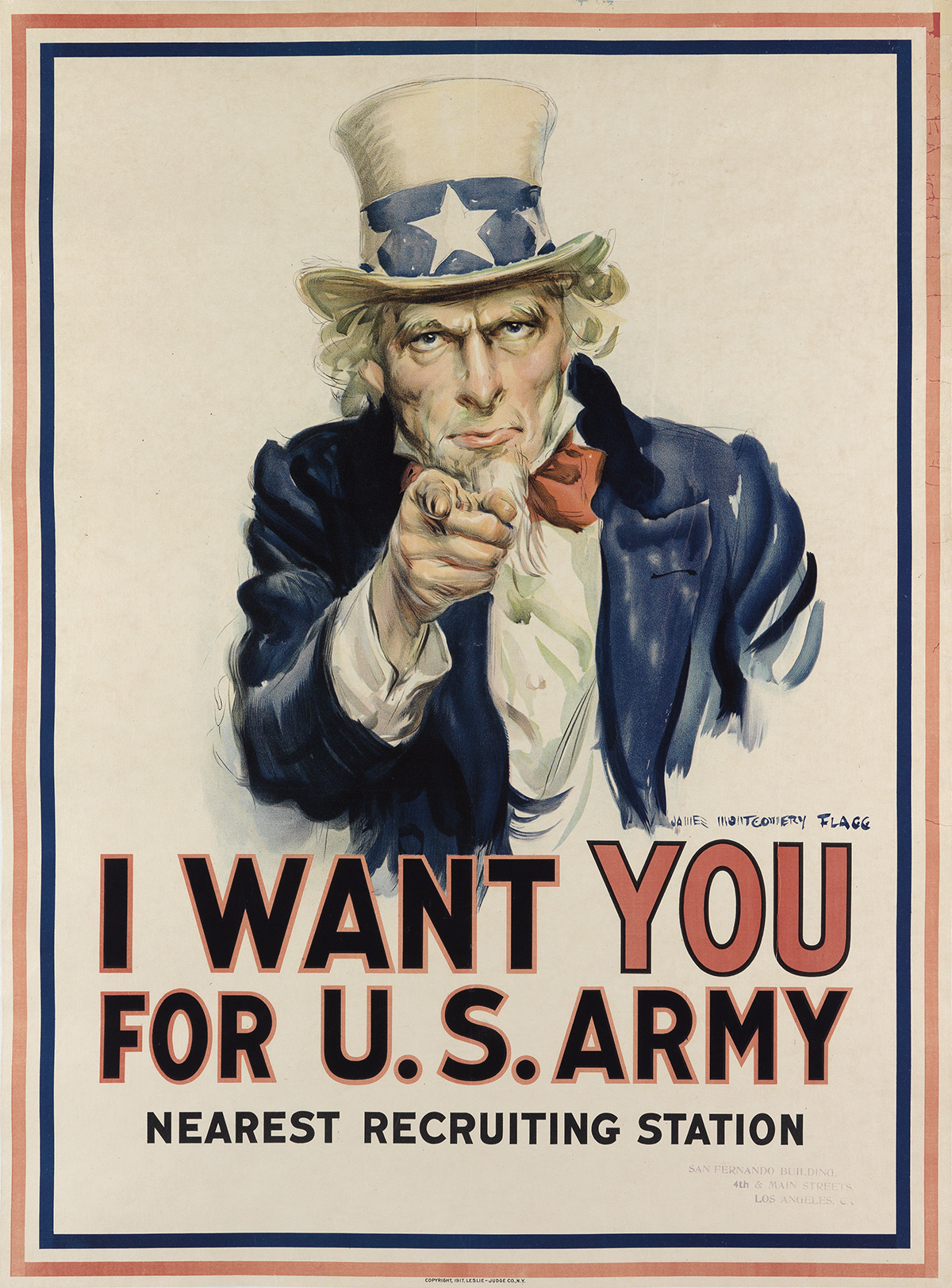 JAMES MONTGOMERY FLAGG (1870-1960). I WANT YOU FOR U.S. ARMY. 1917. 40x29 inches, 102x75 cm.
