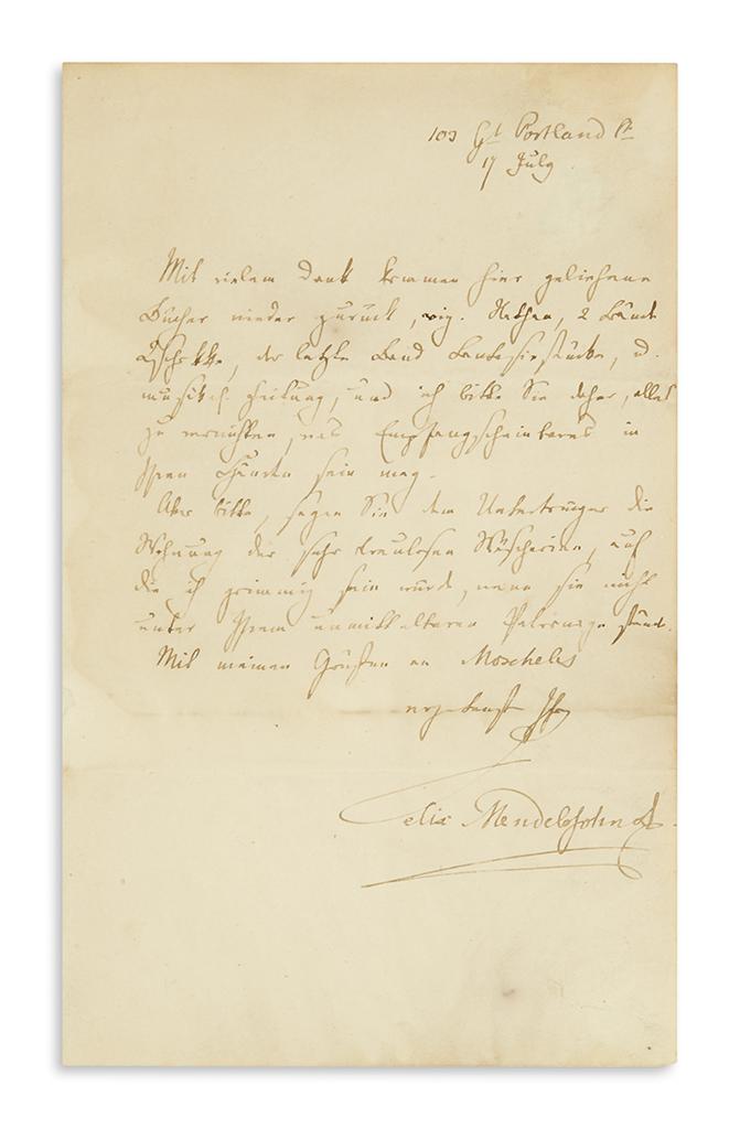 MENDELSSOHN-BARTHOLDY-FELIX-Autograph-Letter-Signed-Felix-Me