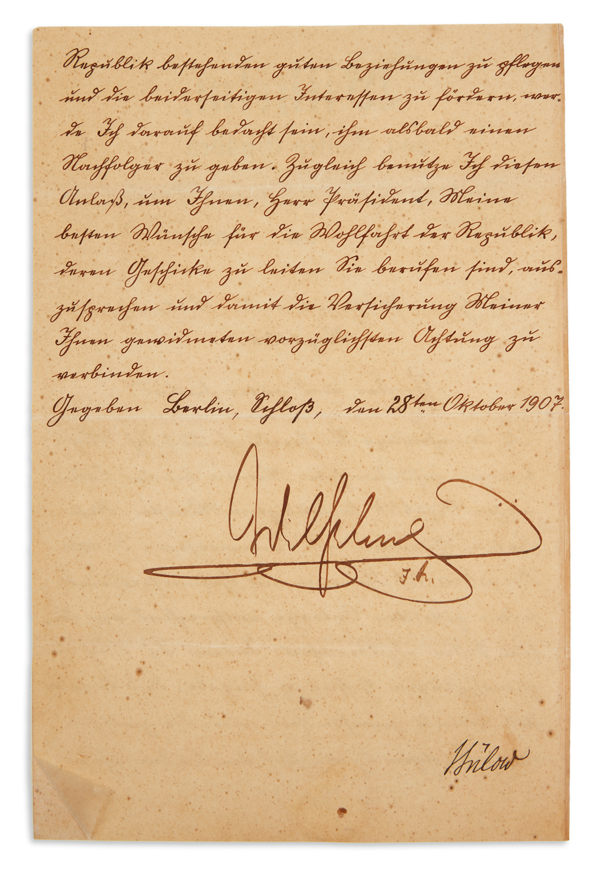 WILHELM II; EMPEROR OF GERMANY. Letter Signed, Wilhelm / I.R., as Emperor, to President of the Cuban Republic [Provisional Governor C