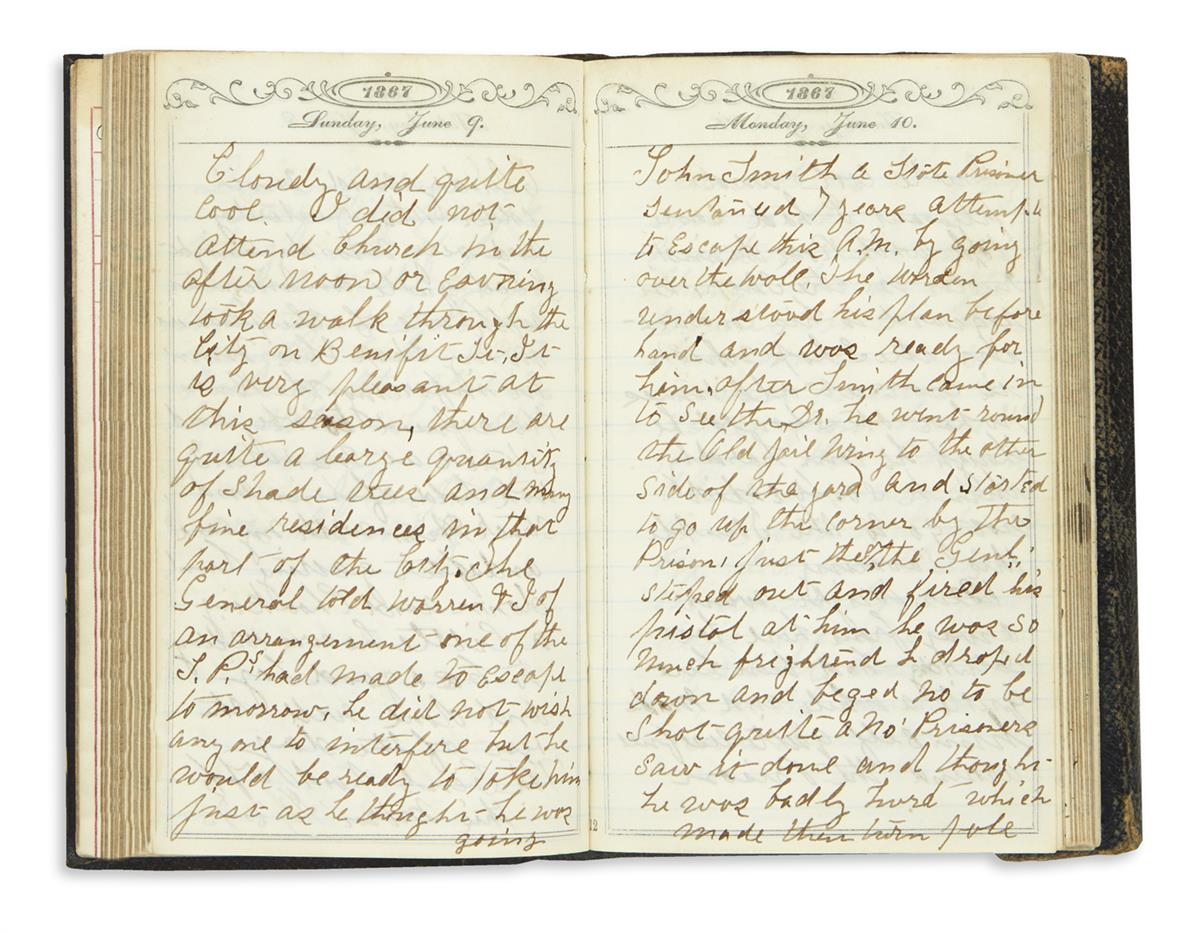 (RHODE ISLAND.) Dickey, Robert C. Diary of a guard at the Rhode Island State Prison in Providence.