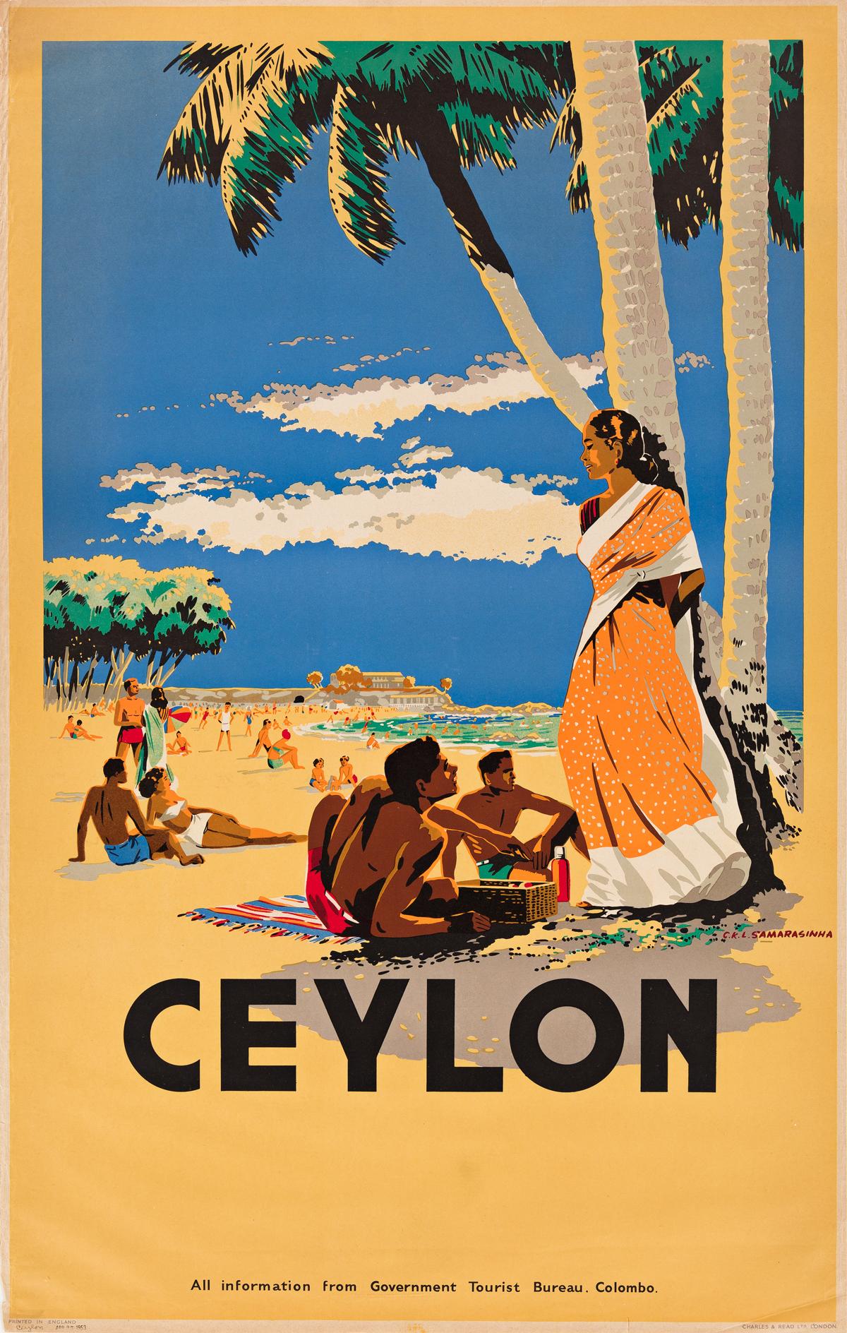 C. K. L. Samarasinha (1919-2003).  CEYLON. 1948. 40x25 inches, 102x65 cm. Charles & Read Ltd., London.