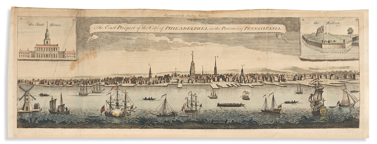 (COLONIAL ERA.) [After George Heap.] The East Prospect of the City of Philadelphia in the Province of Pennsylvania.