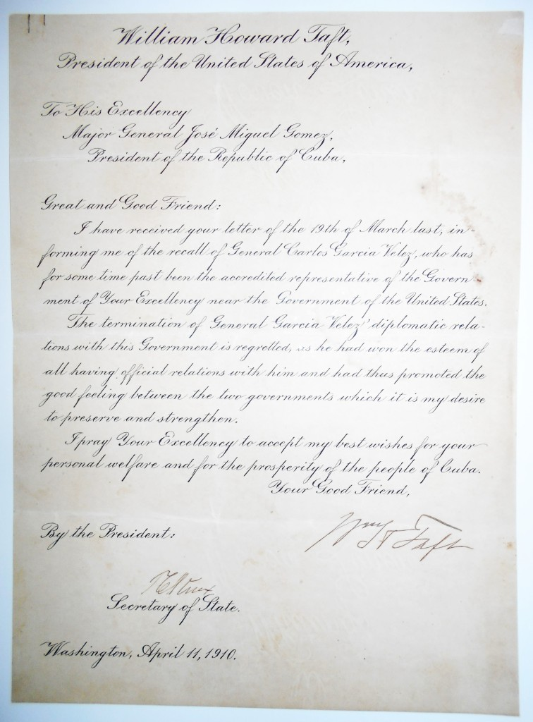 TAFT-WILLIAM-HOWARD-Letter-Signed-WHTaft-as-President-to-Pre