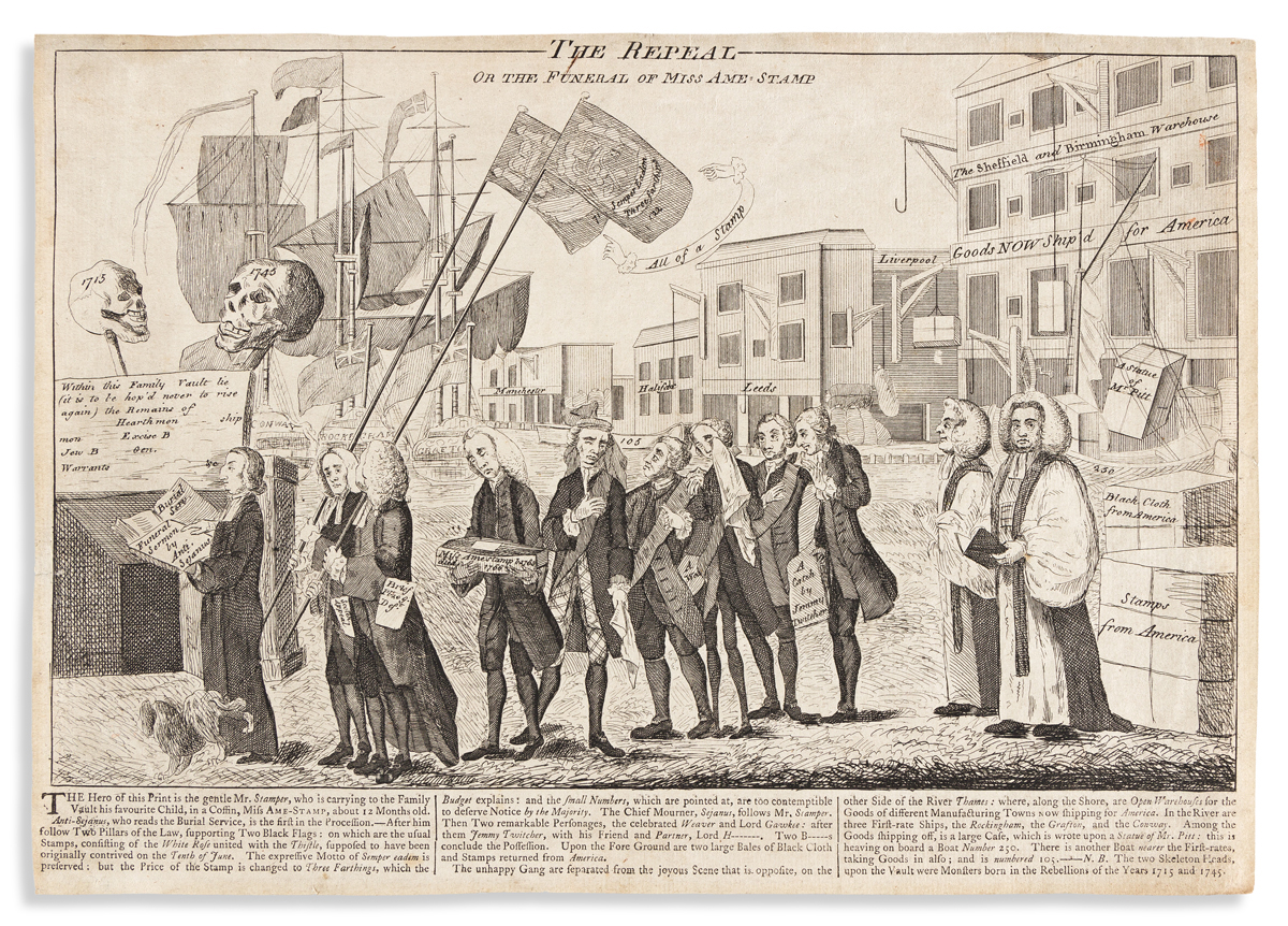(REVOLUTION--PRELUDE.) [After Benjamin Wilson.] The Repeal, or The Funeral of Miss Ame-stamp.