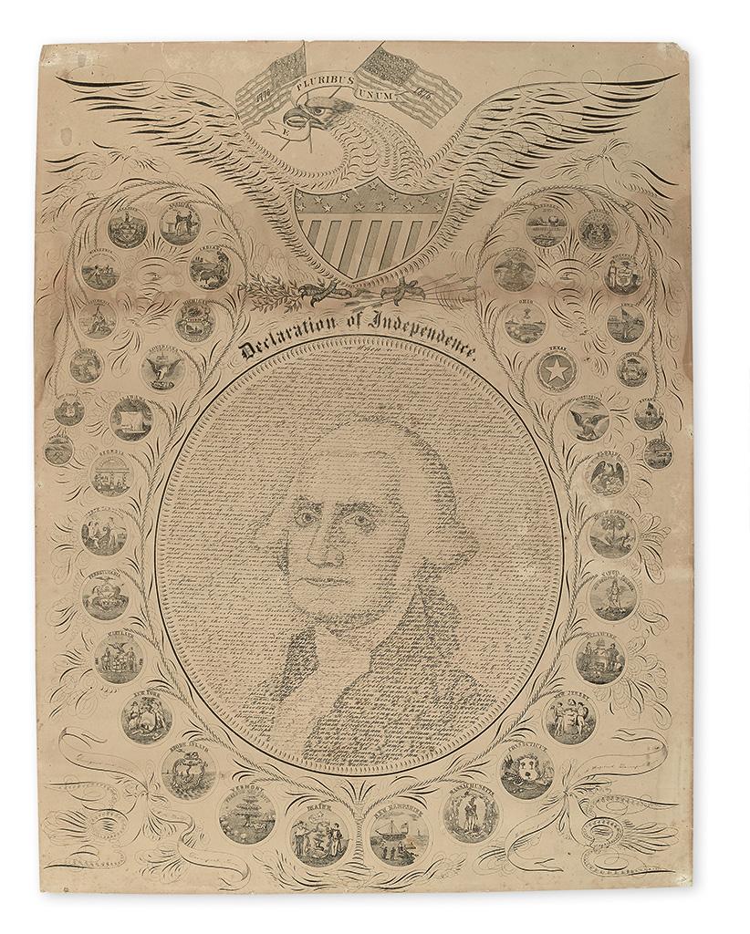 (DECLARATION OF INDEPENDENCE.) Pratt, William H.; artist. Declaration of Independence.