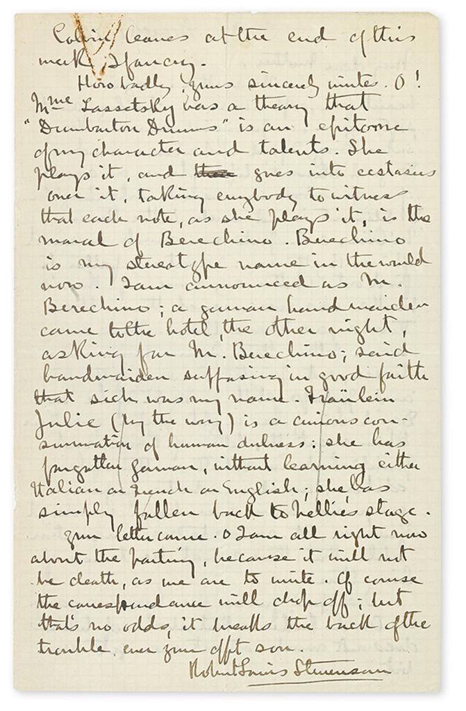 STEVENSON, ROBERT LOUIS. Autograph Letter Signed, to My dear Mother,