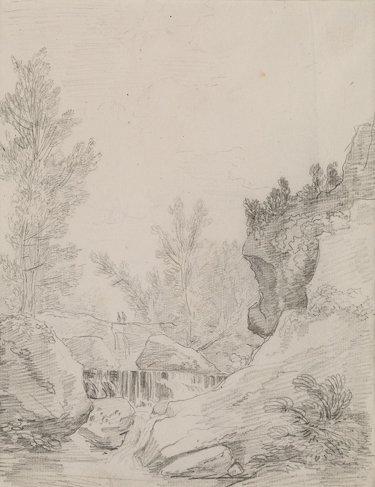 HUBERT-ROBERT-(Paris-1733-1808-Paris)-A-Landscape-with-a-Gor