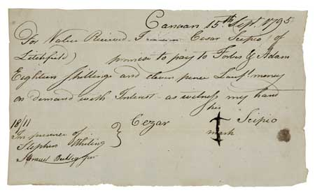 (SLAVERY AND ABOLITION--MANUSCRIPT.) Promissory Note, wherein Cezar Scipio promises to pay Forbes G. Adam the sum of eighteen shillings