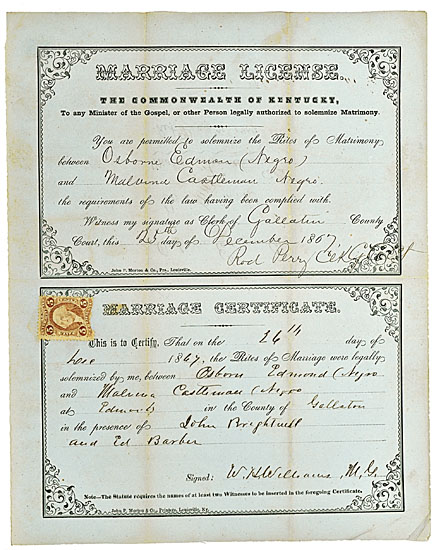 (SLAVERY AND ABOLITION.) RECONSTRUCTION. Marriage Certificate, Commonwealth of Kentucky.