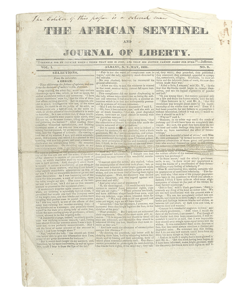 (PERIODICALS.) STEWART, JOHN G. The African Sentinel and Journal of Liberty;