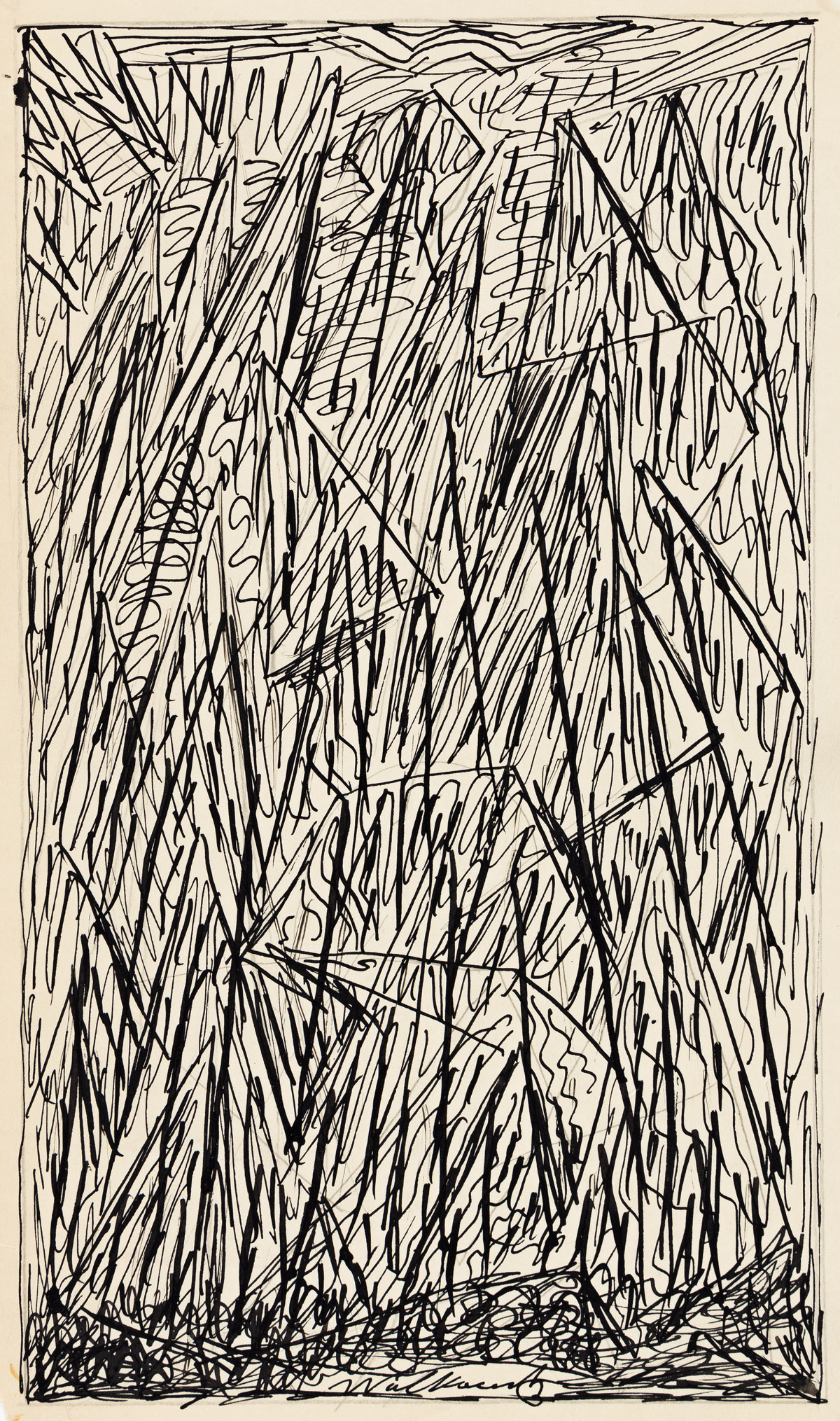 ABRAHAM WALKOWITZ (1878-1965) Two pen and ink abstract cityscapes.
