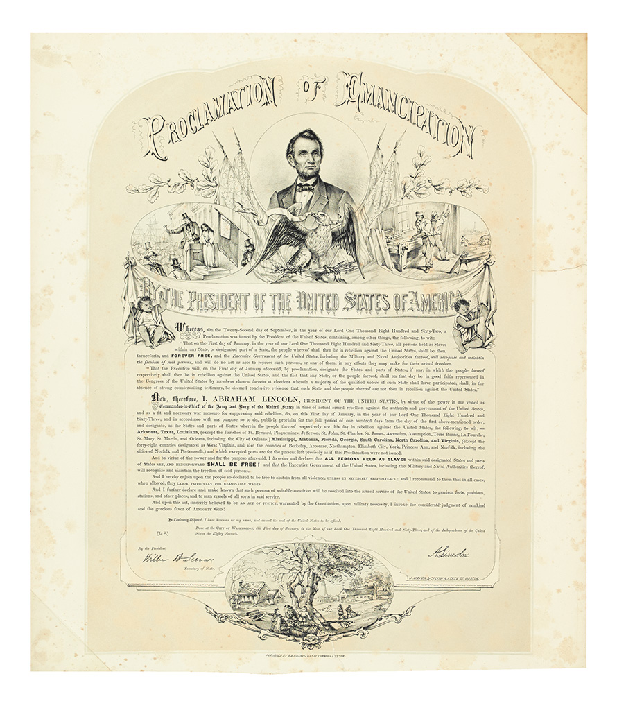 (SLAVERY AND ABOLITION.) LINCOLN, ABRAHAM. Proclamation of Emancipation by the President of the United States of America.