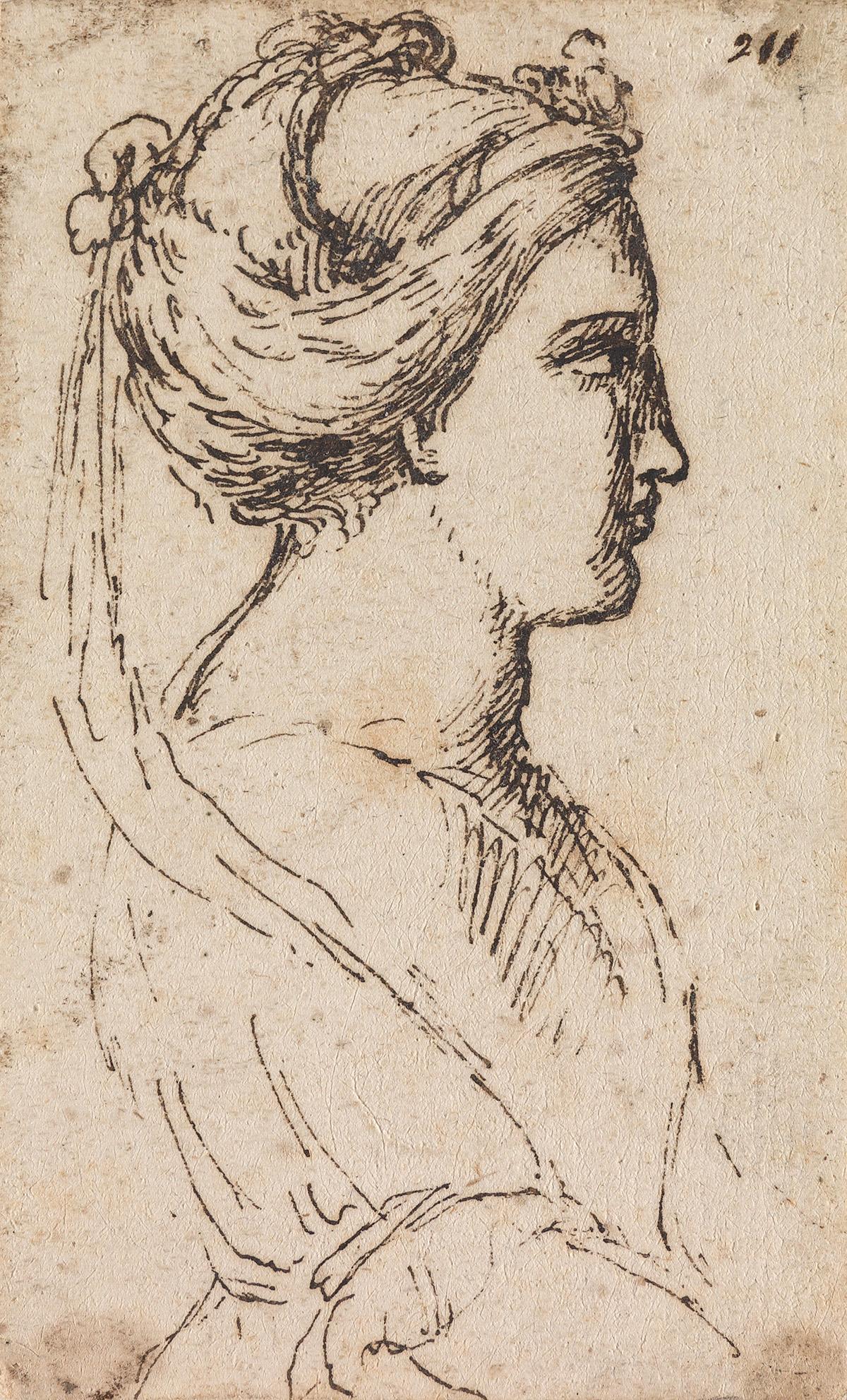 AGOSTINO CARRACCI (CIRCLE OF) (Bologna 1557-1602 Parma) A Woman in Profile.